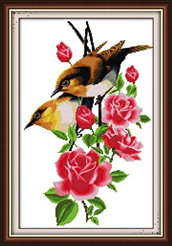 eGoodn Cross Stitch Stamped Kit Pre-printed Pattern Birds And Flowers, 11CT Aida Fabric Size 16.5 x 24