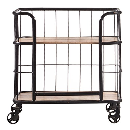(Pulaski DS-D051017 Industrial Wood & Metal Trolley bar cart, Black)