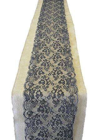 Amazoncom Burlap Lace Table Runner 9 Lace Black Lace 12
