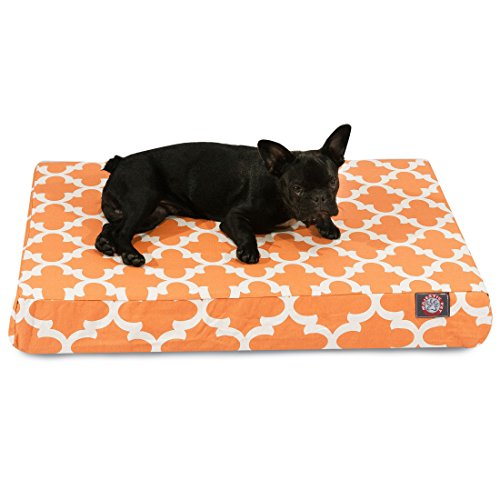 1 Piece Orange Trellis Pattern Dog Bed (Medium), Elegant Geometric Print Pet Bedding For Puppies, Features Removable Cover, Water & Stain Resists, Ultra Thick & Supportive, Rectangle Shape, Polyester by Unknown