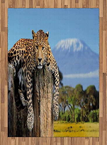 Africa Area Rug by Ambesonne, Leopard Sitting on a Tree Trunk with Mountain Range Journey Up Kilimanjaro Scenery, Flat Woven Accent Rug for Living Room Bedroom Dining Room, 5.2 x 7.5 FT, Tan Blue by Ambesonne