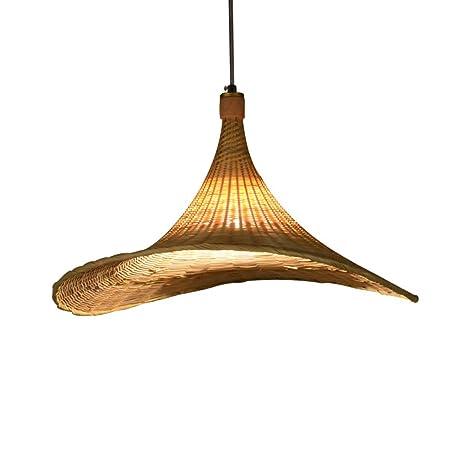 Modern techo LED E27 tejido a mano de bambú Colgante lámpara ...
