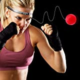 Speed Boxing Ball Reflex Fight Ball with Headband   Training Reaction Ball on String Punching Focus Punch Head Band Trainer Hand Eye Cap Hat Kit Set Bundle Adult Kids by POAGL