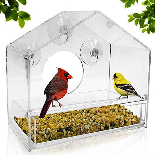 UPGRADED Window Bird Feeder, Sliding Feed Tray, Large, Crystal Clear, Weatherproof Design, Squirrel Resistant, Drains Rain Water to keep bird seed (Telescoping Cover Support Pole)