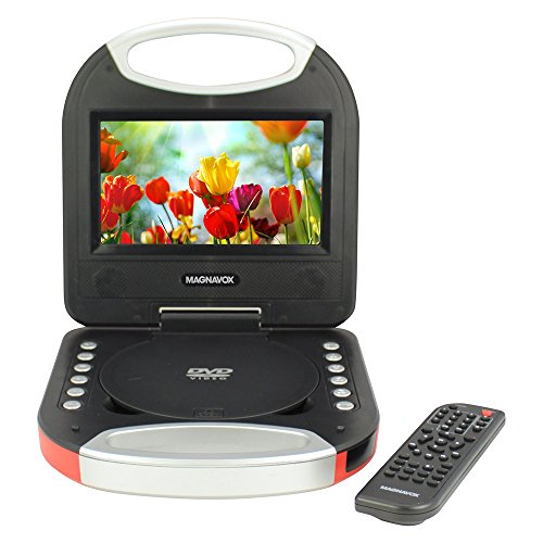 - Magnavox - 7 Inch Portable DVD Player with Remote Control and Car Adapter, TFT Screen, CD Player, Red