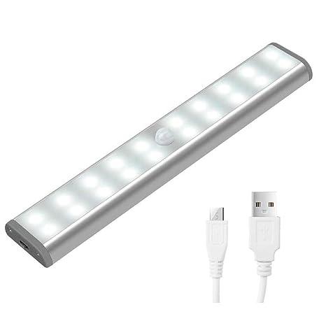 [nuevo] Sensor de movimiento luz para armario – JEBSENS T05 – 1 unidades USB Batería 10 LED funciona con pilas luces para gabinetes, escalera, ...