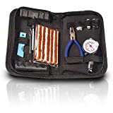 Heavy Duty Tire Repair Kit Best for Car Bike Motorcycle Trailer RV ATV Jeep Truck Tractor with Quality Tire Pressure Gauge - Flat Seal Tire Plug Tubeless Kit - Emergency Puncture Repair Patch Kit