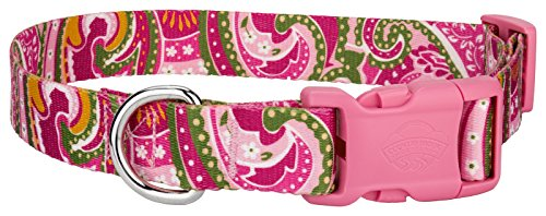 Country Brook Design Pink Paisley Patterned Dog Collar with Pink Buckle - Extra Large