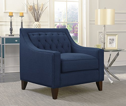 Iconic Home Aberdeen Linen Tufted Back Down Mix Modern Contemporary Club Chair, Navy