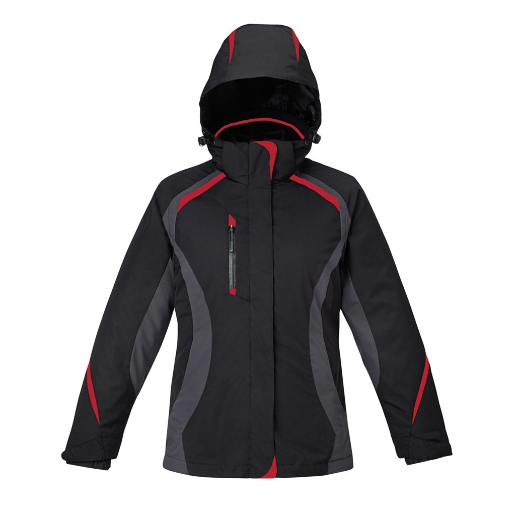 Ash City Ladies Height Jacket (Small, Black/Carbon/Classic Red/Black)