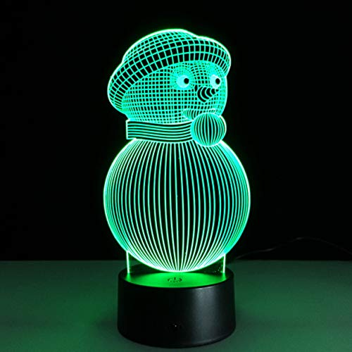 Bedside Lamps Christmas Snowman Colorful 23D Light Energy Saving Led Illusion Table Lamp Creative Three-Dimensional Night Light Colorful Remote Control Touch ()