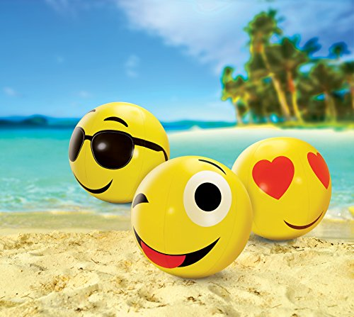 KOVOT Large Emoji Beach Balls Set Of 3 - Includes (3) 24'' Emoji Style Beach Balls And Foot Pump by Kovot