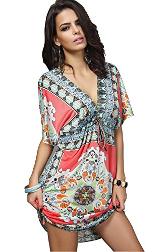 Wander Agio Womens Lace Short Sleeves Princess Dress Printing Beach Cover Up Red One Size