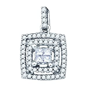 Diamond Pendant 14kt White Gold Princess Square Cluster 1/3 Cttw(I2/i3, i/j)