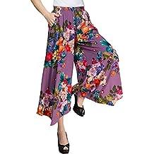 UCSCAN Womens Comfy Elastic Waist Cotton&Linen Floral Culottes Wide Leg Pants