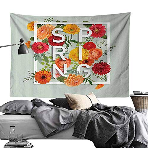 Homrkey Bed Linen Tapestry Flower Magazine Cover Like Design with Frame Spring Letters Floral Daisies Art Print Wall Hanging W80 x L60 Almond Green
