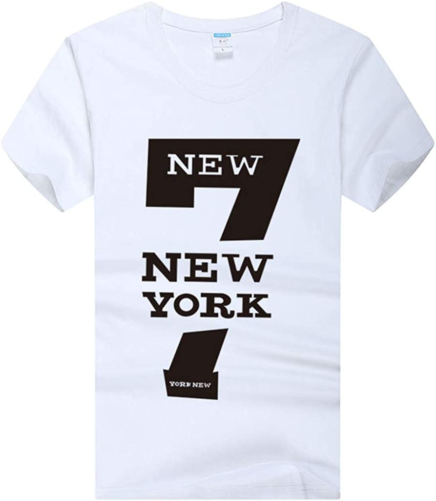 Men T-Shirts Casual Round Neck New York Letter Print Graphic Simple Slim Fit Cotton Tops Blouse