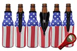 Glubey Beer Bottle Cooler Sleeves (6 Pack) Premium Neoprene with American Flag Design for Glass Bottles w/FREE Bottle Opener