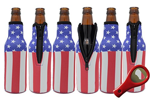 Glubey Beer Bottle Cooler Sleeves (6 Pack) Premium Neoprene with American Flag Design for Glass Bottles w/FREE Bottle Opener by Glubey