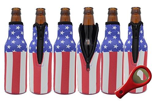Glubey Beer Bottle Cooler Sleeves (6 Pack) Premium Neoprene with American Flag Design for Glass Bottles w/FREE Bottle Opener by Glubey
