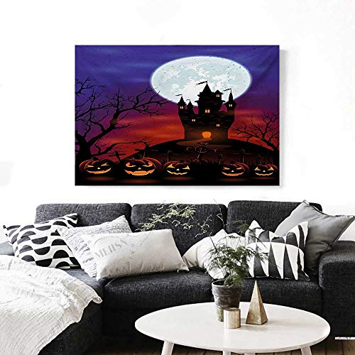 Halloween Canvas Wall Art Gothic Haunted House Castle Hill Valley Night Sky October Festival Theme Print Print Paintings for Home Wall Office Decor 28