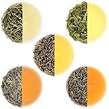 VAHDAM, White Tea Loose Leaf Sampler | 5 TEAS - Himalaya White Tea, Silver Needle White Tea, Blue Mountain White Tea, Pearl Darjeeling White Tea Leaves - World's HEALTHIEST Tea | (25 Cups, 1.76oz)