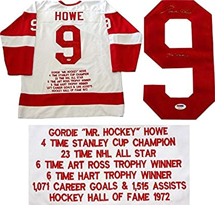 0b7c45df8a3 Image Unavailable. Image not available for. Color: Gordie Howe Signed Jersey  - Mr. Detriot Embroidered Stat PSA) - Autographed NHL Jerseys