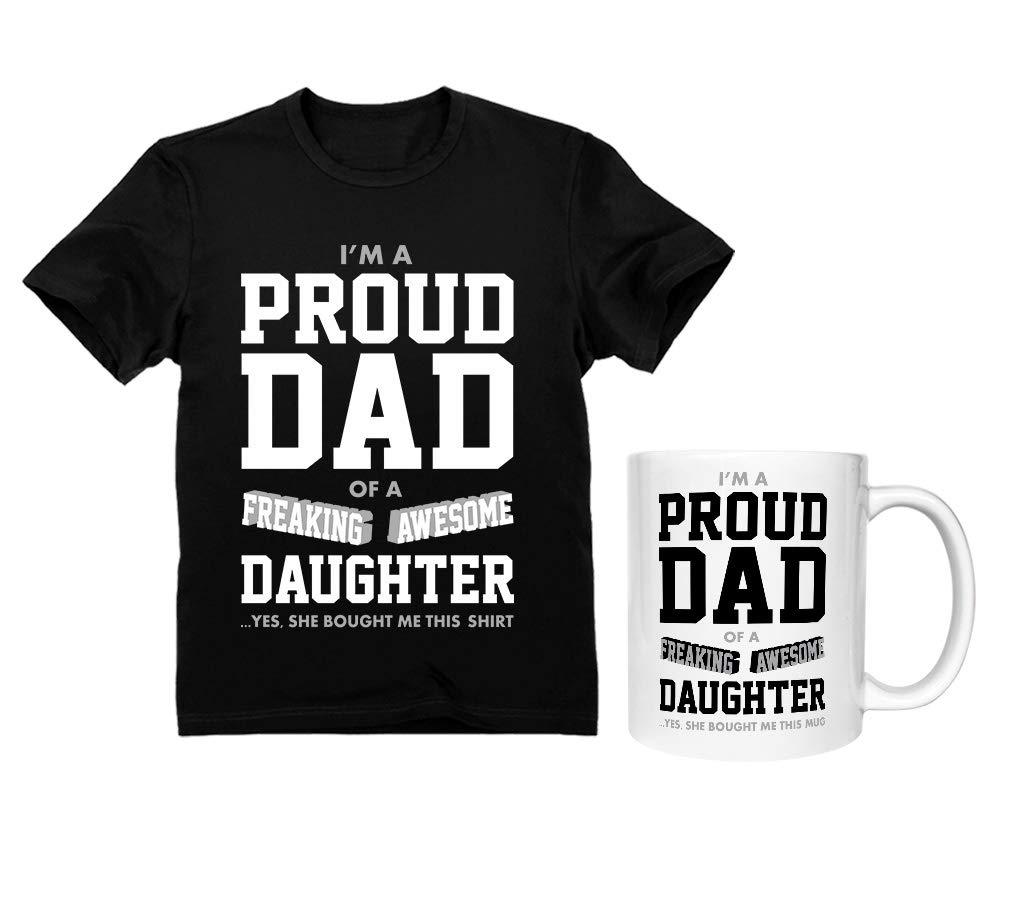 Dad Shirt & Mug Set Proud Dad of A Freaking Awesome Daughter Funny Gift for Dads Shirt Black Medium/Mug White 11 Oz. by Tstars (Image #1)