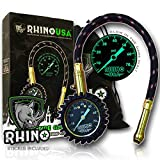 Rhino USA Heavy Duty Tire Pressure Gauge (0-75 PSI) - Certified ANSI B40.1 Accurate, Large 2 inch Easy Read Glow Dial, Premium Braided Hose, Solid Brass Hardware, Best for Any Car, Truck, Motorcycle