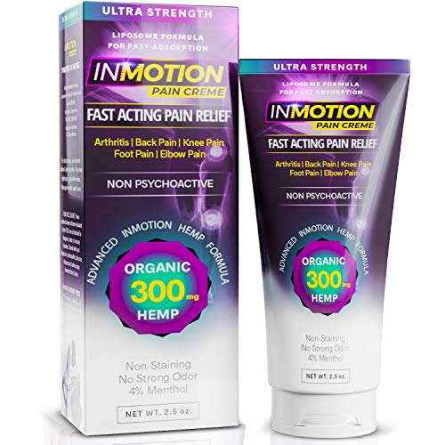 Inmotion Hemp Pain Relief Cream - 300mg Hemp Ultra Strength 2.5oz Tube - Fast Acting Topical Analgesic for Arthritis, Tendinitis, Fibromyalgia, Sciatica, Back, Knee, Muscle, Nerve, Foot, Joint Pain