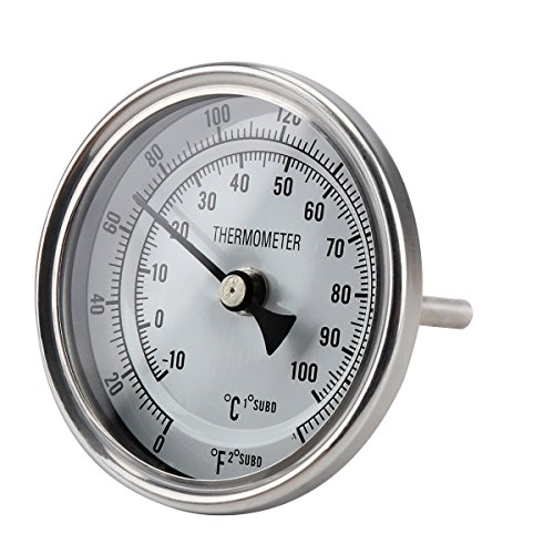 FERRODAY Stainless Steel Thermometer Dial Thermometer 1/2 NPT Homebrew Kettle Thermometer With Lock Nut & O-ring (0-220ºF, -10-100ºC)