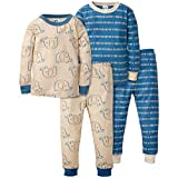Gerber Baby Boys Organic 2 Pack Cotton Footed Unionsuit, 4T, ELEPHANT