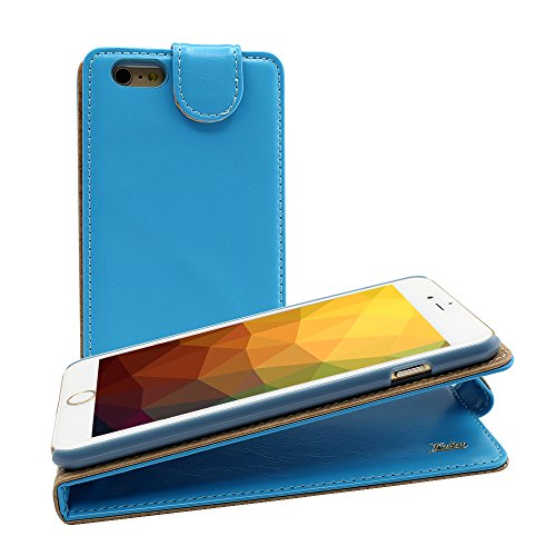 Iphone 6 Ultra-Soft Genuine Light Blue Leather Flip Case Cover with Two Card Slot for Apple Iphone 6 by G4GADGET®