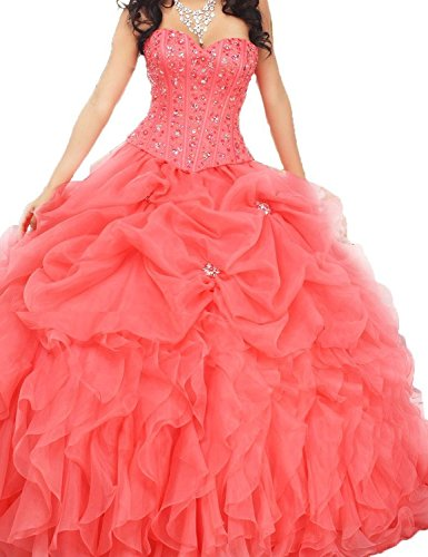 Jacket Fanciest Coral Abendkleider Damen with Ballkleider Dresses Beaded Gown Quinceanera Ball Kleider Coral 66P0nrZq