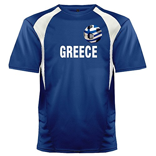 Custom Greece Soccer Ball 1 Jersey Youth Small in Royal Blue and White