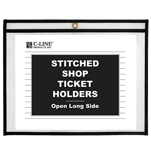 C-Line Stitched Shop Ticket Holders, Both Sides Clear, Open Long Side, 12 x 9 Inches, 25 per Box (49912)