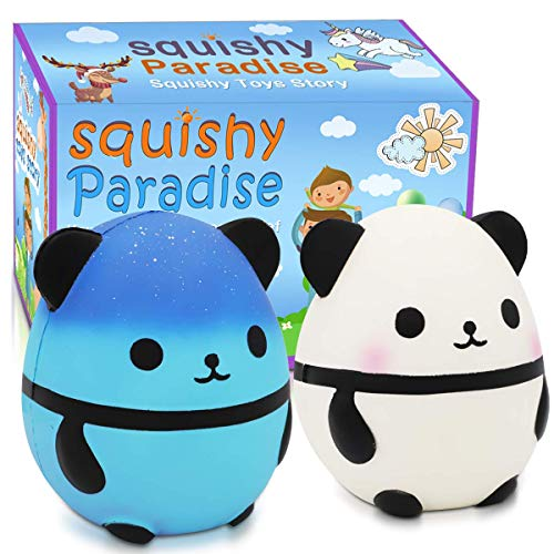 Jumbo Squishies Panda Squishy Toys - 2 Pack Kawaii Cute Panda Squishy Slow Rising Cream Scented Squishies Jumbo Stress Reliever Toys for Boys and Girls Birthday Party Supplies Easter Decorations