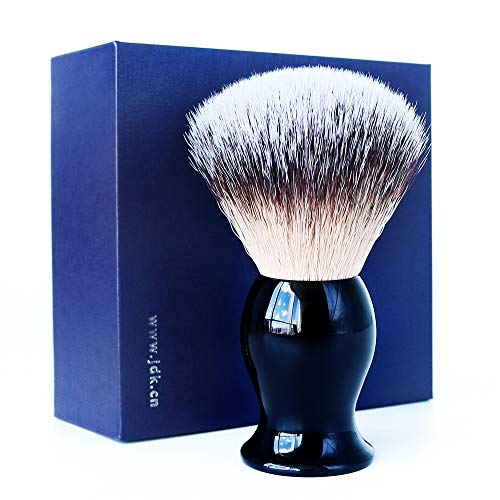 Vegan Shaving Brush with Premium Synthetic Bristles Black Acrylic Handle Barber Salon Tool for Men, Use with Safety Razor, Double Edge Razor, Straight Razor or Shaving Razor by JDK