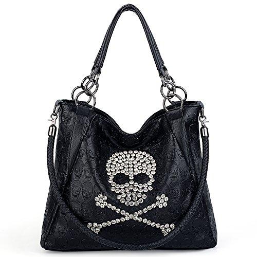 UTO Women Skull Tote Bag 3 Way Top Handle Handbag PU Leather Purse Crossbody Shoulder Bags B (Bag Tote Braided Handle)