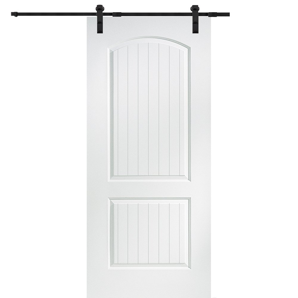 National Door Company Z009524 Solid Core Molded 2-Panel Planked, Primed, 36'' x 80'', Barn Door Unit