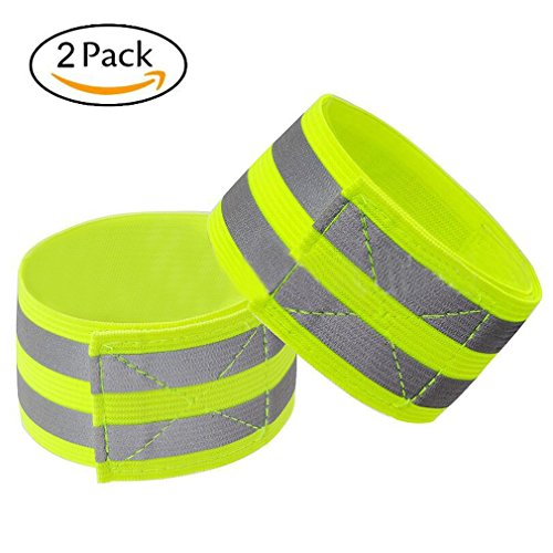 Reflective Band for Wrist, Arm, Ankle, Leg. High Visibility Reflective Running Gear for Men and Women for Night Running Cycling Walking Bicycle. Safety Reflector Tape Straps. Bike Pants Cuff (2 (Reflective Leg Wraps)