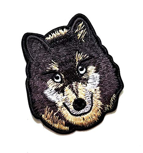 "3.4"" X 3"" Wolf Head Patch Realistic Wolf Cartoon Kid Logo Jacket t-Shirt Jeans Polo Patch Iron on Embroidered Logo Sign Badge Animal Cartoon Patch by Tour les jours Shop"