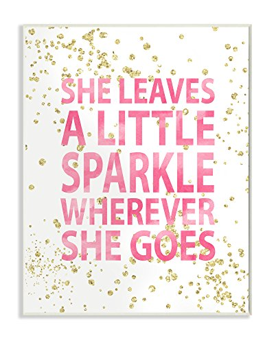 Stupell Home Décor She Leaves a Little Sparke Wall Plaque Art, 10 x 0.5 x 15, Proudly Made in USA (Leaves Plaques Wall)