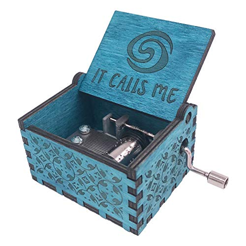 Moana Music Box Hand Crank Musical Box Carved Wooden,Play The Theme Song of Moana,Blue