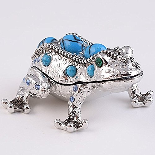 Keren Kopal Silver Frog Trinket Box Decorated with Swarovski (Crystal Frog Figurine)