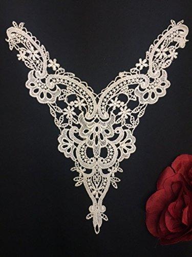 (Lace Applique Neckpiece Venise Yoke Fancy Curves Embroidery Motif Patch, 9