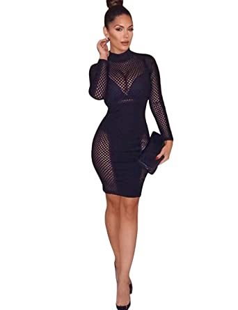 b6bbae1215d0b Maketina Women Sexy Long Sleeve Hollow Out Mesh Bodycon Mini Clubwear Party  Bandage Dress Black XS