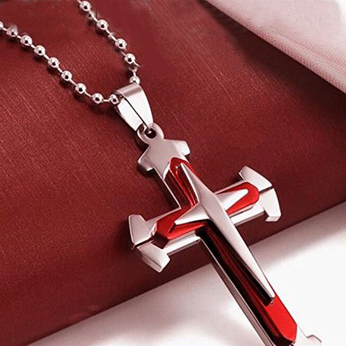 WensLTD Clearance! 1 Pc Unisex Men Stainless Steel Cross Pendant Necklace Chain (Red) from WensLTD