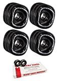 70mm Shark Wheels Mako Longboard Skateboard Wheels with Bones Bearings - 8mm Bones Swiss Skateboard Bearings - Bundle of 2 items