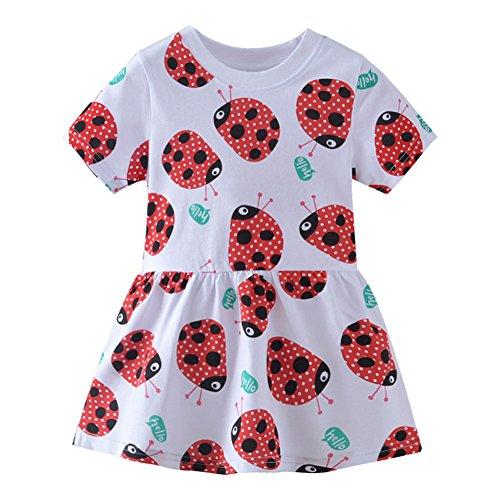 Warmbaby Kids Short Sleeve Dress Ladybug White 2T
